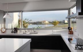 wntrze, styl, konstrukcja, dom, willa, chata, pokj, kuchnia