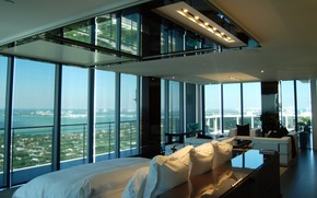 interior, style, design, megalopolis, Penthouse, living room, balcony