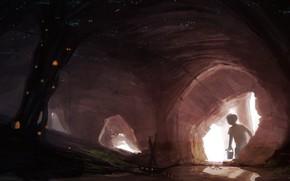 арт, мальчик, пещера, мрачно, корабль, река, ствол, дерево, дом, огни, светлячки