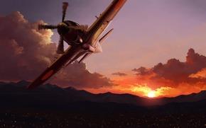 арт, в небе, самолет, город, огни, закат
