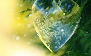 heart, glass, snowflake, ball, decoration, DECOR, tinsel, needles, bokeh, transparent, New Year