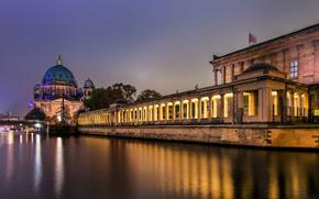 Berln, Ciudad, noche, Alemania, Catedral de Berln, Isla de los Museos, luz, ro, Juerga, berln, Alemania, Berliner Dom