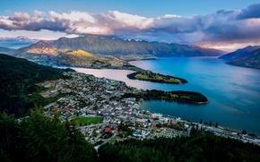 queenstown, neozelandese, Queenstown, Neozelandese, Lago Wakatipu, baia, Montagne, panorama