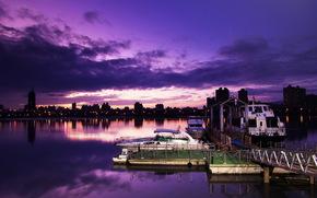 evening, night, city, river, berth, boats