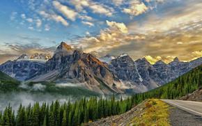 valle de los diez picos, montaje babel, Parque Nacional de Banff, Canad, Valle de los Diez Picos, Banff, Canad, Montaas, bosque, carretera, vrtices