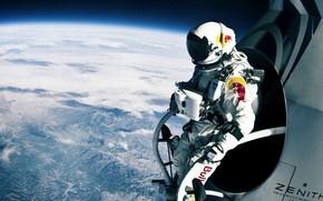 прыжок, спортсмен, полёт, космос, парашют, скачать обои для рабочего стола, широкоформатные обои, скачать обои