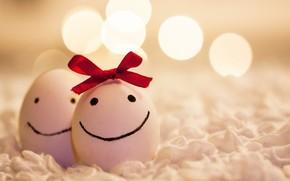 яйца, девочка, мальчик, бантик, позитив, рожицы