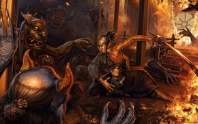 Art, night, home, fire, man, child, Demons, protection, wounds, sword, Monsters, fire