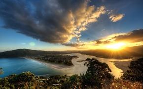 солнце, пейзаж, Природа, облака, горы, небо, вода, закат