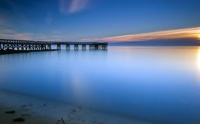 Stati Uniti d'America, baia, oceano, acqua, superficie liscia, calma, molo, mattina, alba, sole, alba, cielo, nuvole, azzurro