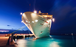 city, wharf, berth, ship, turysty, exposure, sky, night, evening