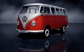 retr, pulmino, rosso, bianco, riflessione, foschia, Volkswagen