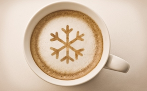 snowflake, foam, coffee, cappuccino, drink, cup, White