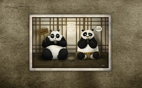 Kung Fu Panda, Pandas, sit, eat, view, neponyatki, funny, conversation, inscription