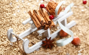 New Year, Christmas, holiday, cinnamon, sledge, New Year