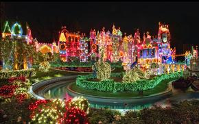 Disneyland, cielo, allegramente, Natale, luminoso, vacanza, profumatamente