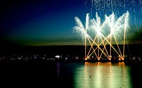 notte, citt, saluto, fuochi d'artificio