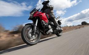 Moto, droga, Honda, asfalt, ludzie, niebo, czerwony, moto, Droga, asfalt, Ludzie, Niebo, Czerwony
