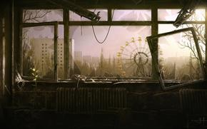 Pripyat, Ukraine, window, view, devastation, abandonment, radiance, tragedy