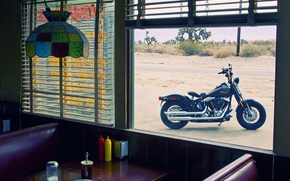 harley-davidson, cafe, view, window, table, chandelier