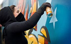 stile, graffiti, ragazza, Balon, Montana, muro, dipingere