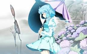 арт, аниме, девушка, зонтик, дождь, природа, цветы