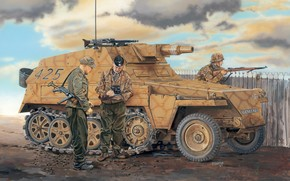 picture, German, easy, Half-track, Armored troop-carrier, Fire support
