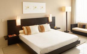 interior, komnota, quarto, cama, livro, parede, andar, janela, Persianas, travesseiros, Lmpada, luz, cadeira