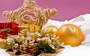 шары, золотые, подсвечник, звезда, шишки, декорации, украшения, елочные, игрушки, праздники, Новый Год, Рождество, Новый год