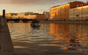 channel, boat, sunset, water, St. Petersburg, Peter