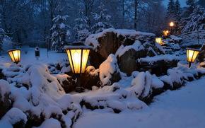 Winter, stones, Hot key, Krasnodar, lights, snow, night