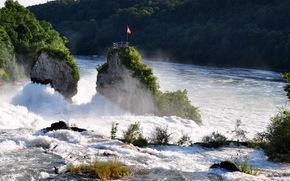 waterfall, river, rhine switzerland