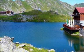 lac, bleu, mountains, озеро, дом, горы, камни