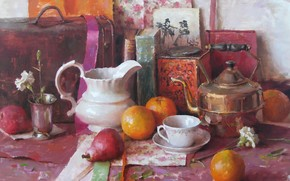 picture, still life, fruit, pitcher, oranges, pears, kettle, cup, flower, carnation, suitcase, Books