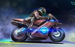 арт, мотоцикл, человек, скорость, костюм, дым, неон