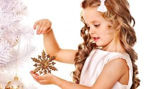 девочка, ребенок, локоны, снежинка, золотая, елка, игрушки, елочные, Новый Год, Рождество, праздник, Новый год