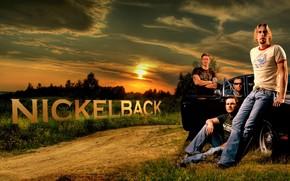 рок-группа, америка, закат, вечер, машина