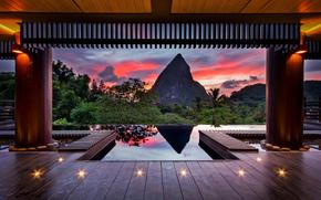 tropici, estate, sera, Caribi, montagna, cielo, vernici, Chocolate Hotel