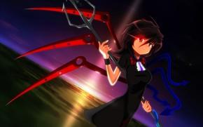 Art, anime, girl, wings, sunset, snake, trident, tie