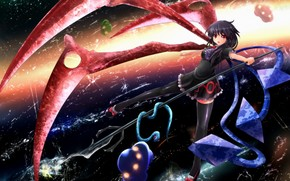Art, girl, anime, wings, Zama, weapon, bows, trident, space, UFO