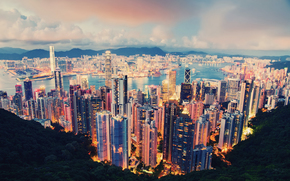 citt, Hong Kong, sera, nuvole, semaforo