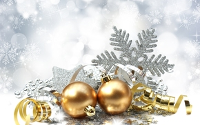 snowflake, Balls, Balls, Gold, Serpentine, Toys, Christmas, holiday, New Year, Christmas, New Year