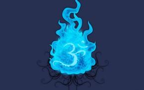 wektor, niebieski, ogie