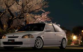 Улица, фонарь, брусчатка, Honda Civic, автомобили, машины, авто