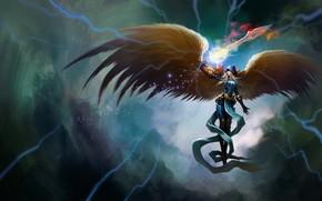 Art, angel, girl, sword, wings, magic, Lightning