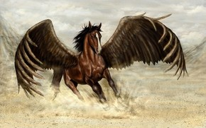 Art, fantasy, horse, wings, Pegasus, dust, run, motion