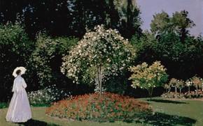 женщина, цвты, платье, лето, сад, деревья, зонтик, тень, небо, природа