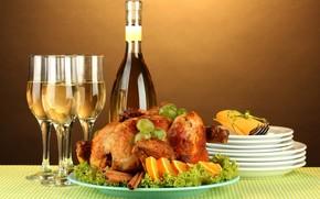 еда, индейка, курица, специи, анис, корица, виноград, апельсин, вино, белое, бокалы, стол, тарелки