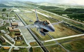 самолет, истребитель, аэродром, авиация, рисунок