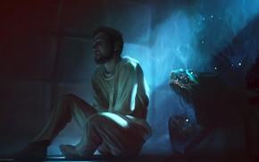 арт, мужчина, кошмар, монстры, смерительная рубашка, страх